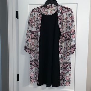 Black dress with cardigan